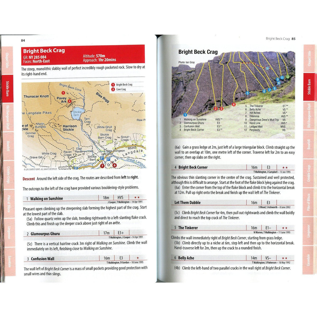 Langdale (FRCC) guide, example inside pages showing topos and route descriptions
