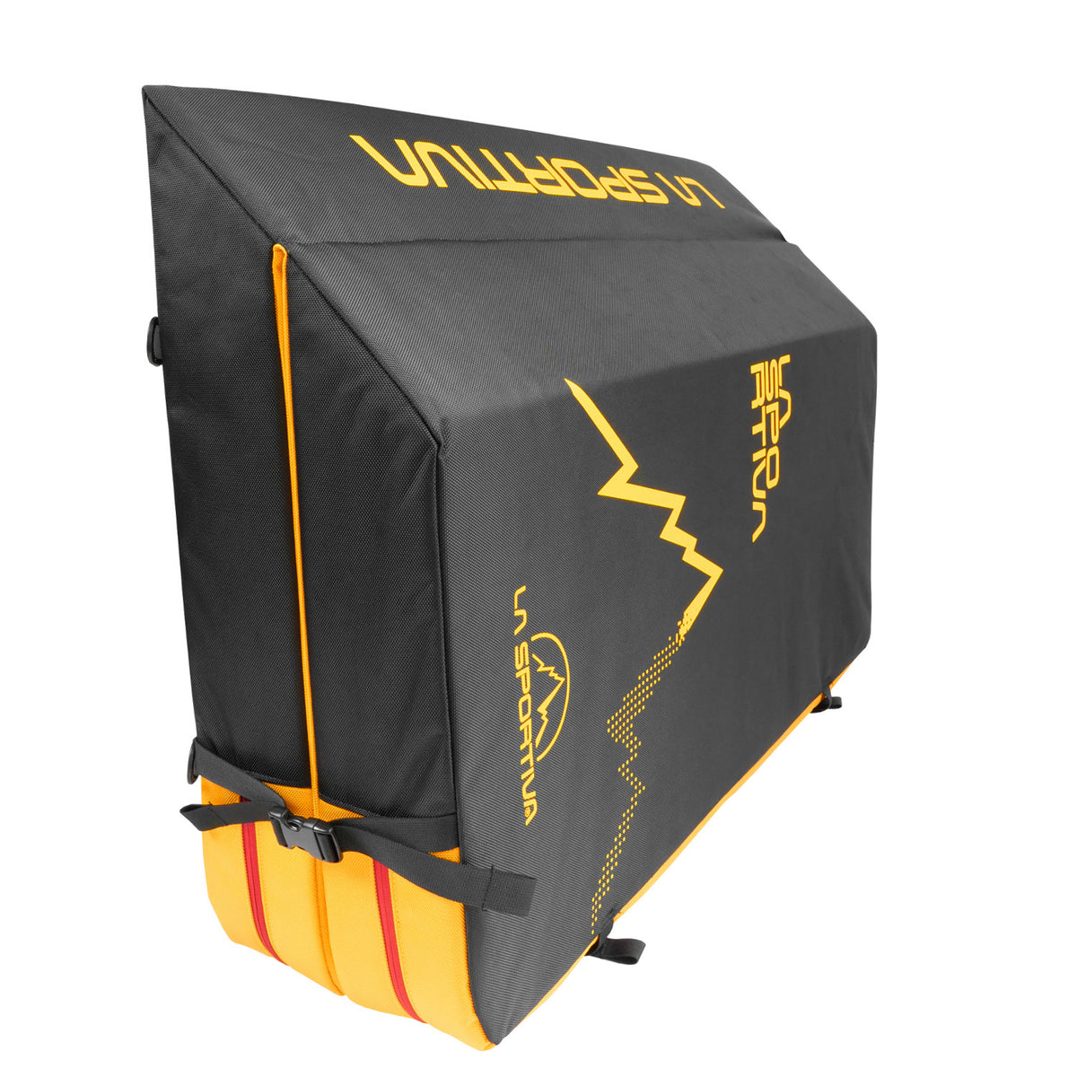 La Sportiva LaSpo Crash Pad Showing 45* degree cut rear of the pad in Black, Yellow and Red