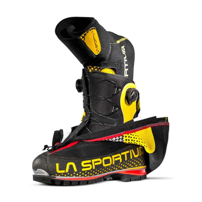 La Sportiva G2 SM Mountaineering Boot, showing outer layer peeled back to reveal inner