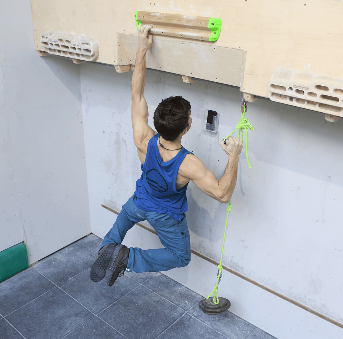 Lattice Testing and Training Rung, shown in use with a climber hanging off it