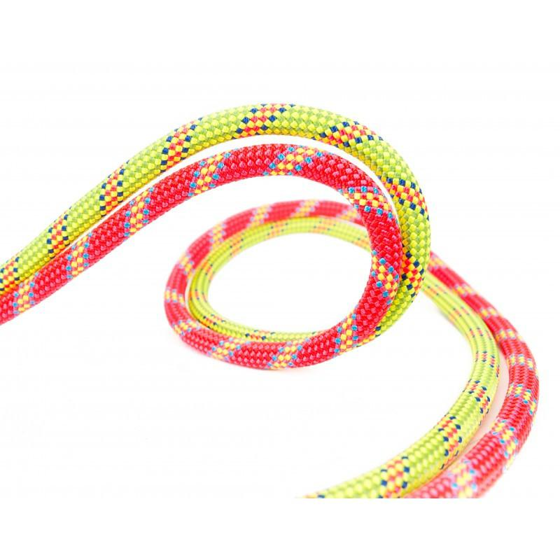 2 Beal Legend 8.3mm x 50m climbing ropes, shown in red and green colours