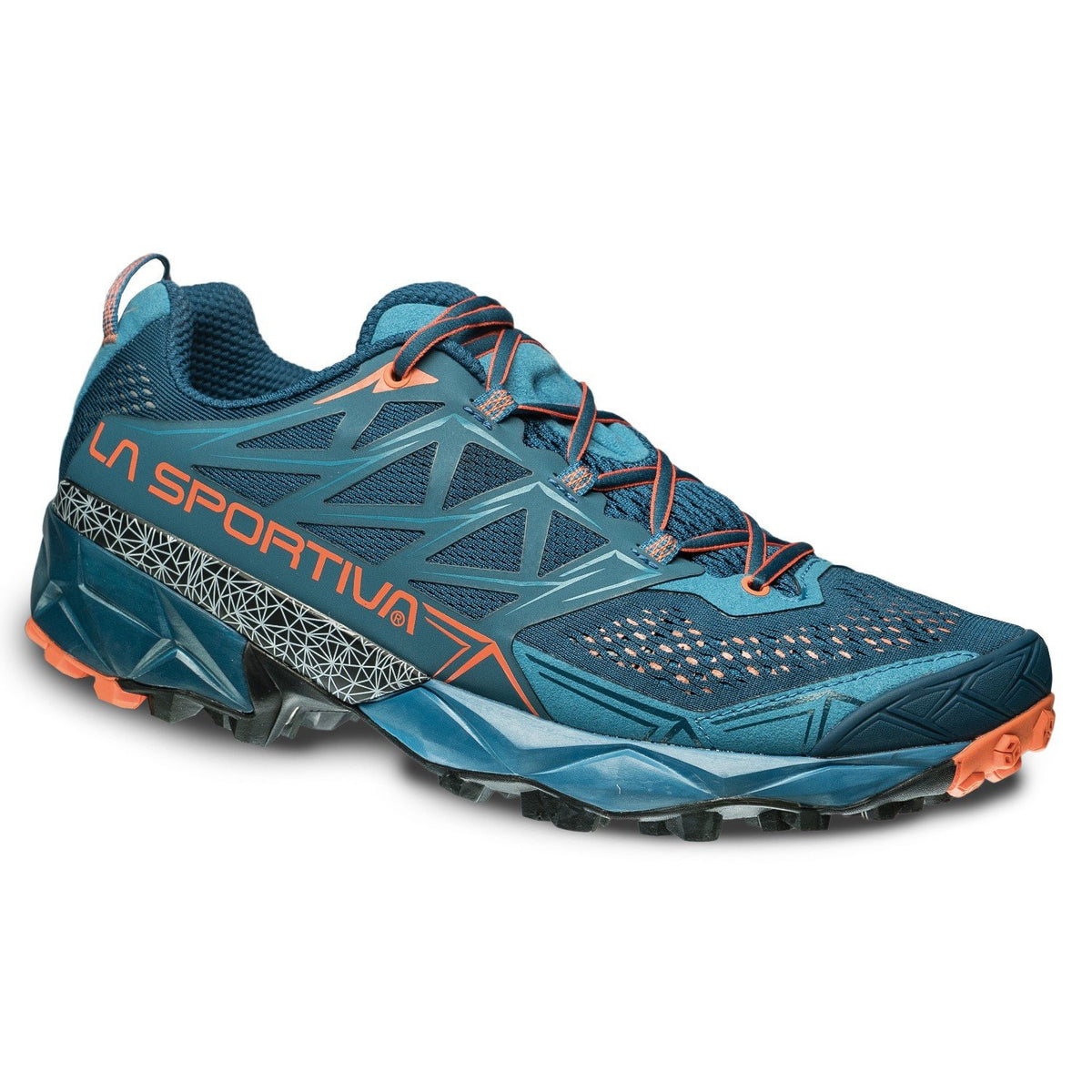 La Sportiva Akyra running shoe, outer side view in blue/orange colours