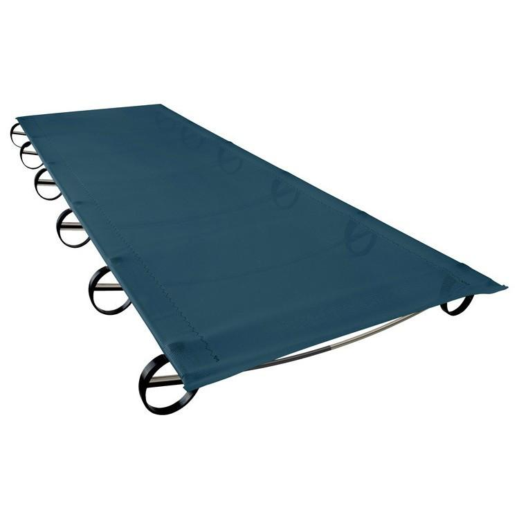 Thermarest LuxuryLite Mesh Camping Cot, shown laid out in blue colour