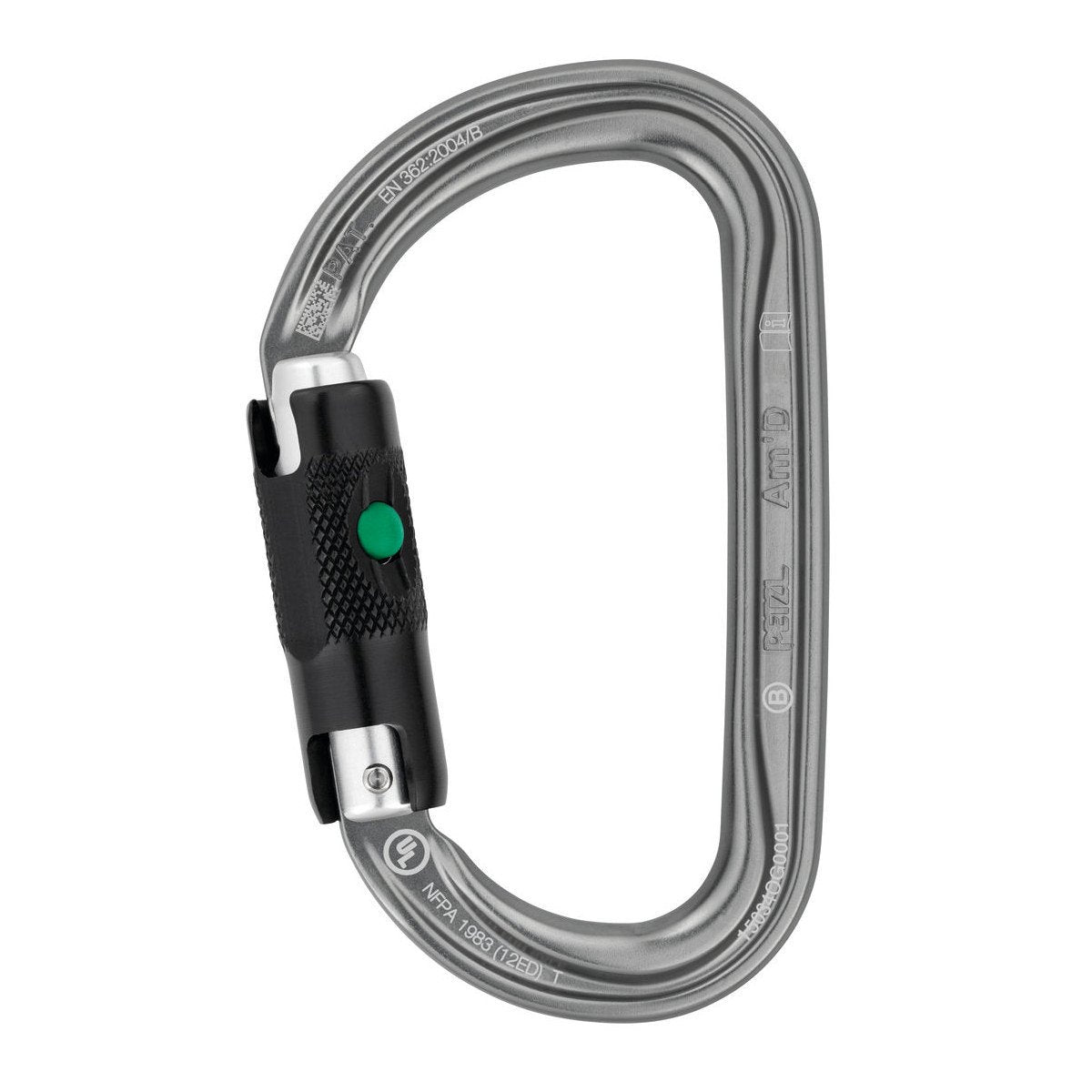 Petzl Am'D Ball-Lock Carabiner, in silver colour with black lock
