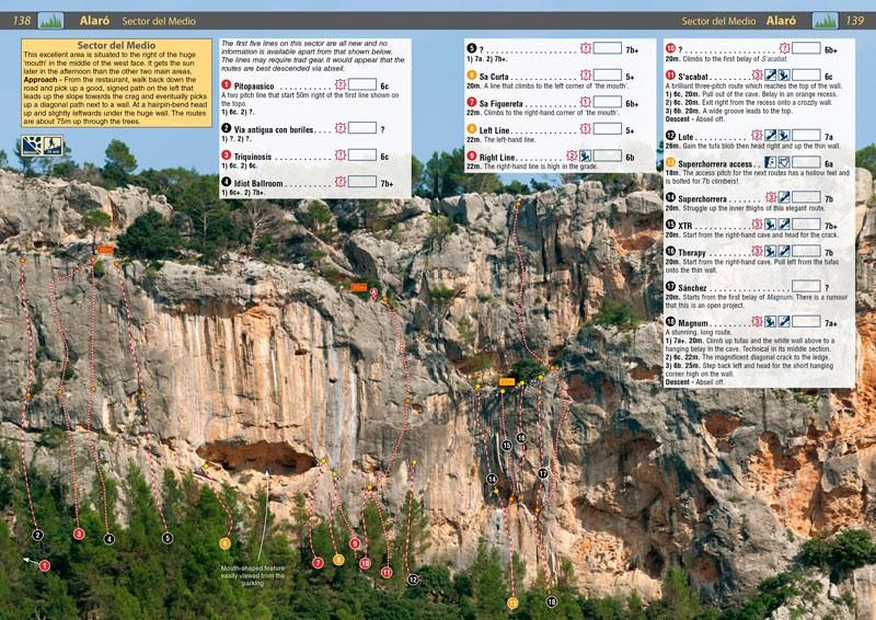 Spain: Mallorca guide, example inside pages showing photo topos and route descriptions