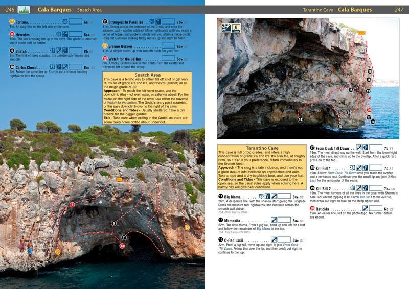 Spain: Mallorca guide, example inside pages showing photos and topos