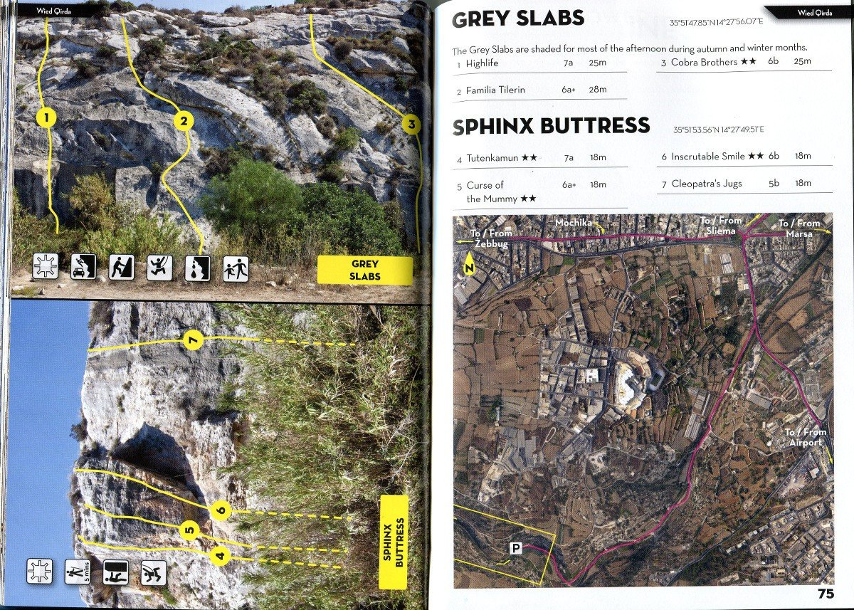 Sport Climbing in Malta & Gozo guide, example pages inside showing maps and topos