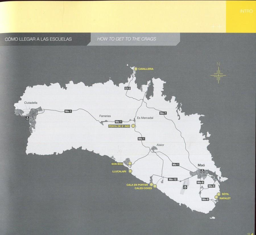 Menorca Sport Climbing guide, inside page example showing maps