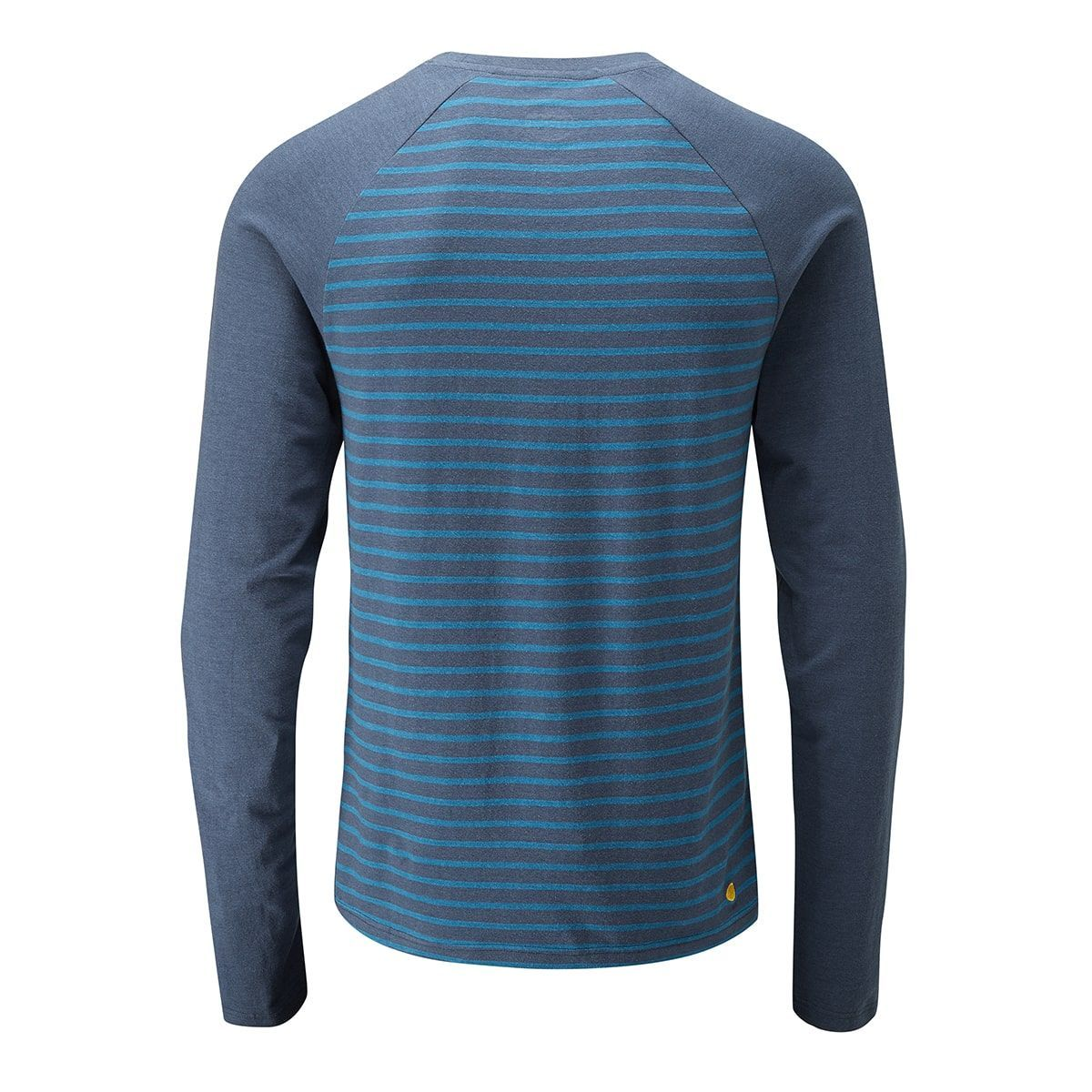 rear view of Moon Striped Bamboo Tech Long Sleeve T-Shirt in Dark blue with light blue pin stripes