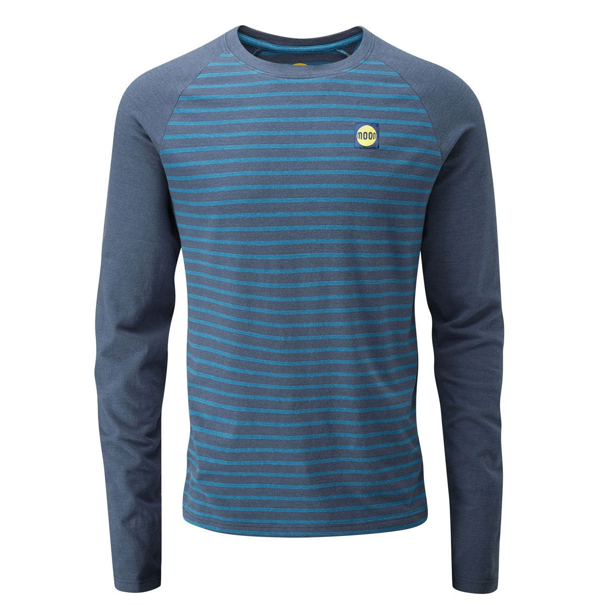 Front view of Moon Striped Bamboo Tech Long Sleeve T-Shirt in Dark blue with light blue pin stripes