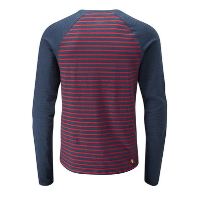 Rear view of Moon Striped Bamboo Tech Long Sleeve T-Shirt in Dark blue with maroon pin stripes