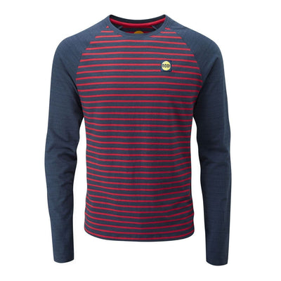 Front view of Moon Striped Bamboo Tech Long Sleeve T-Shirt in Dark blue with maroon pin stripes