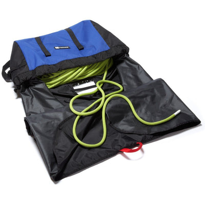 Metolius Ropemaster HC rope climbing bag, shown open with green rope