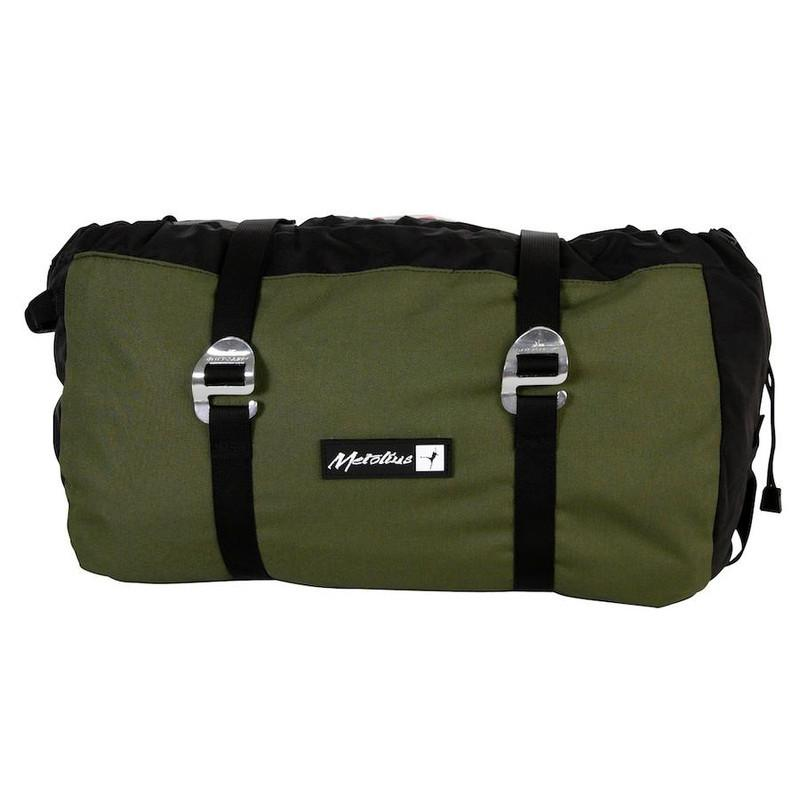 Metolius Ropemaster HC rope climbing bag, shown closed in green and black colours