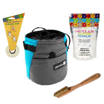 Metolius Dust Bin Bouldering Bucket Set, showing all items in set