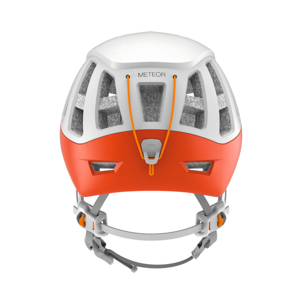 Petzl Meteor helmet, rear view in white colour with orange