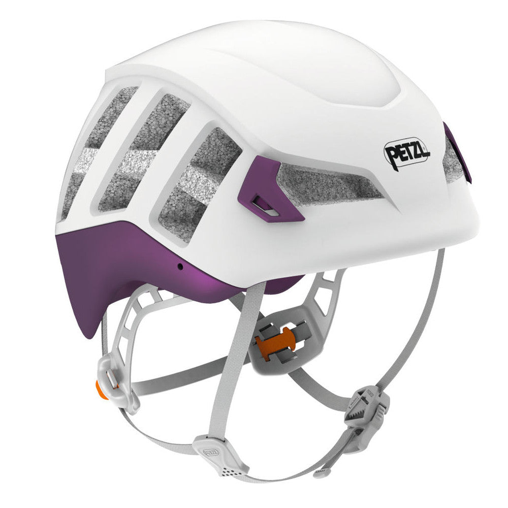 Petzl Meteor helmet, front/side view in white colour with purple