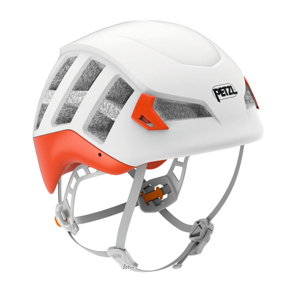Petzl Meteor helmet, front/side view in white colour with orange