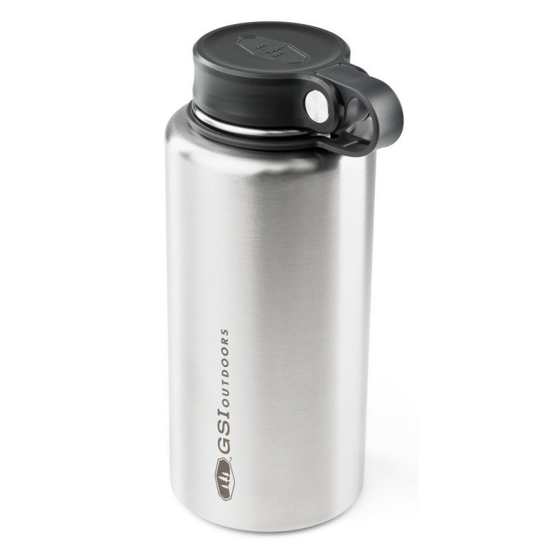 GSI Microlite 1000 Twist vacuum flask, in silver with black lid