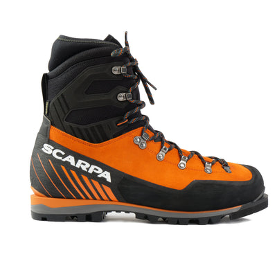 Side view of the Scarpa Mont Blanc Pro GTX with orange Perwanger outer and black rubber and flexible sock and large scarpa logo in white