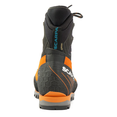 Rear view of the Scarpa Mont Blanc Pro GTX with orange Perwanger outer and black & grey AC sole unit and blue Scarpa logo on the pull tap