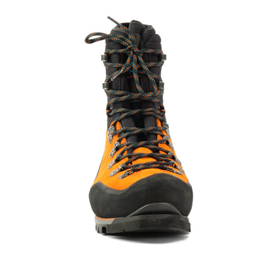 Front view a Scarpa Mont Blanc Pro GTX with orange Perwanger outer and black rubber and flexible sock and tongue