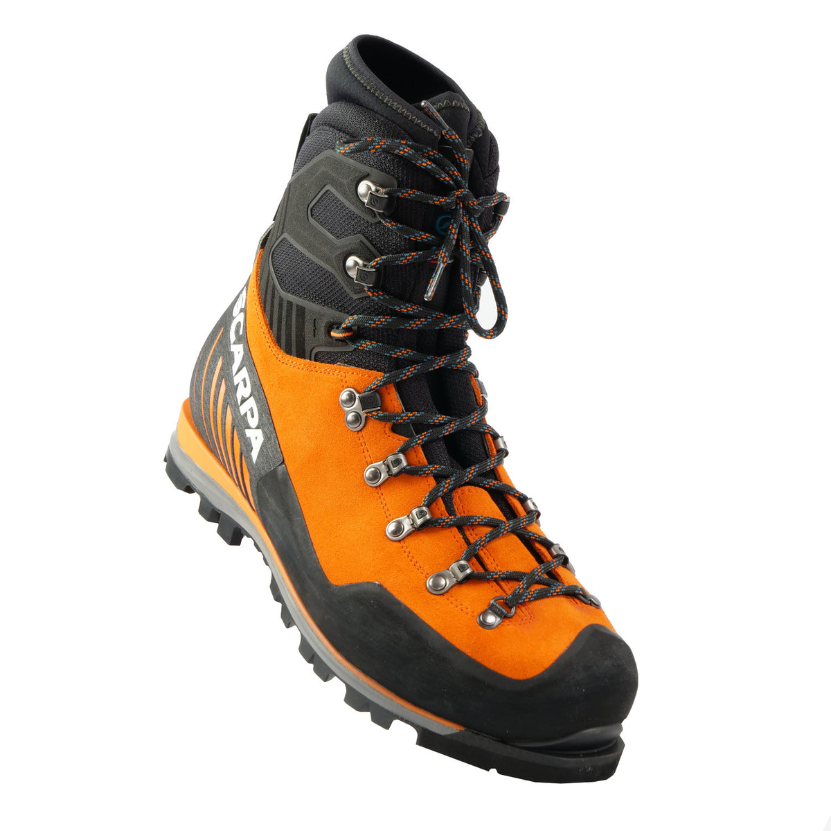 Front view a tilted Scarpa Mont Blanc Pro GTX with orange Perwanger outer and black rubber and flexible sock and tongue