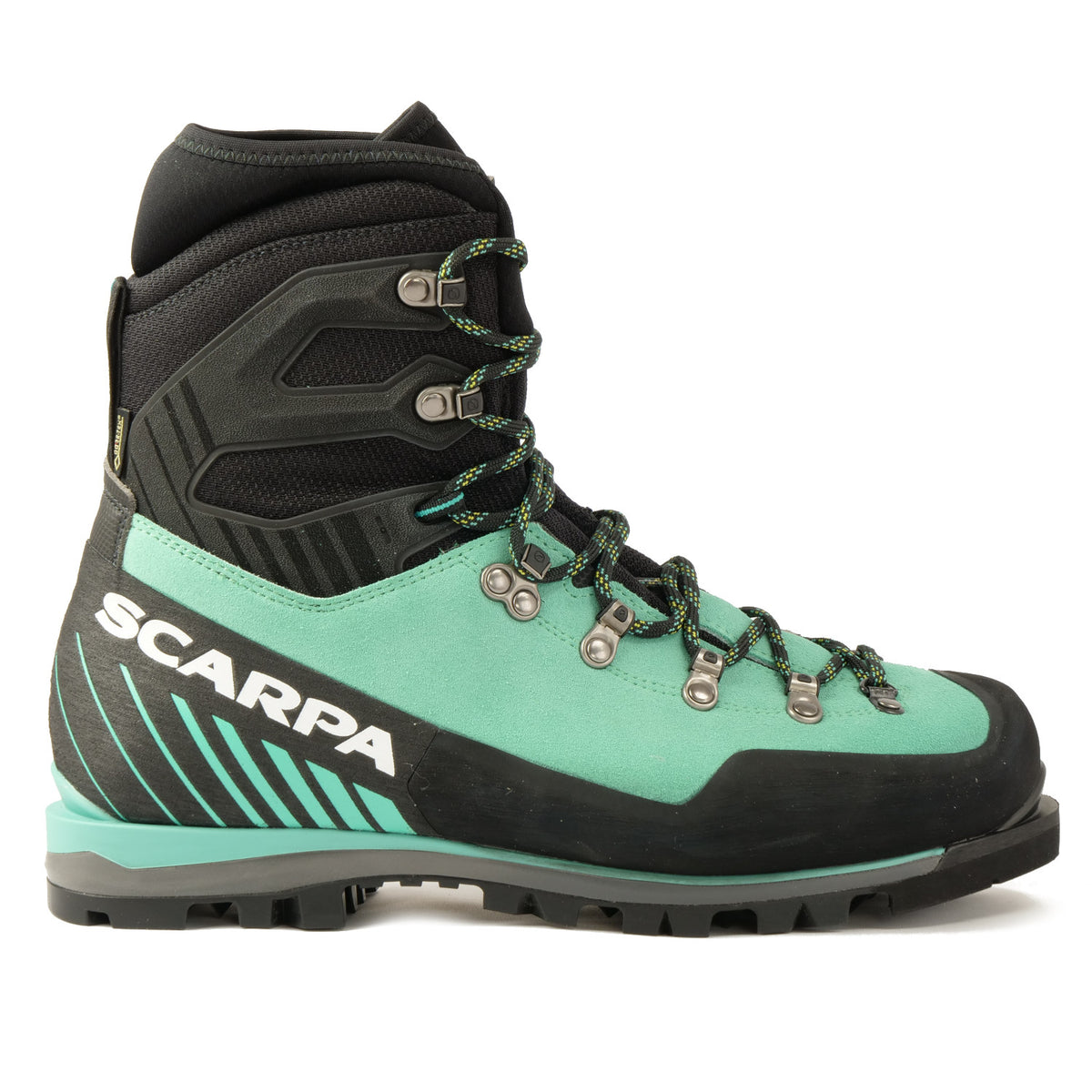 Side view of the Scarpa Mont Blanc Pro GTX Womens with Mint Green Perwanger outer and black rubber and flexible sock and large scarpa logo in white