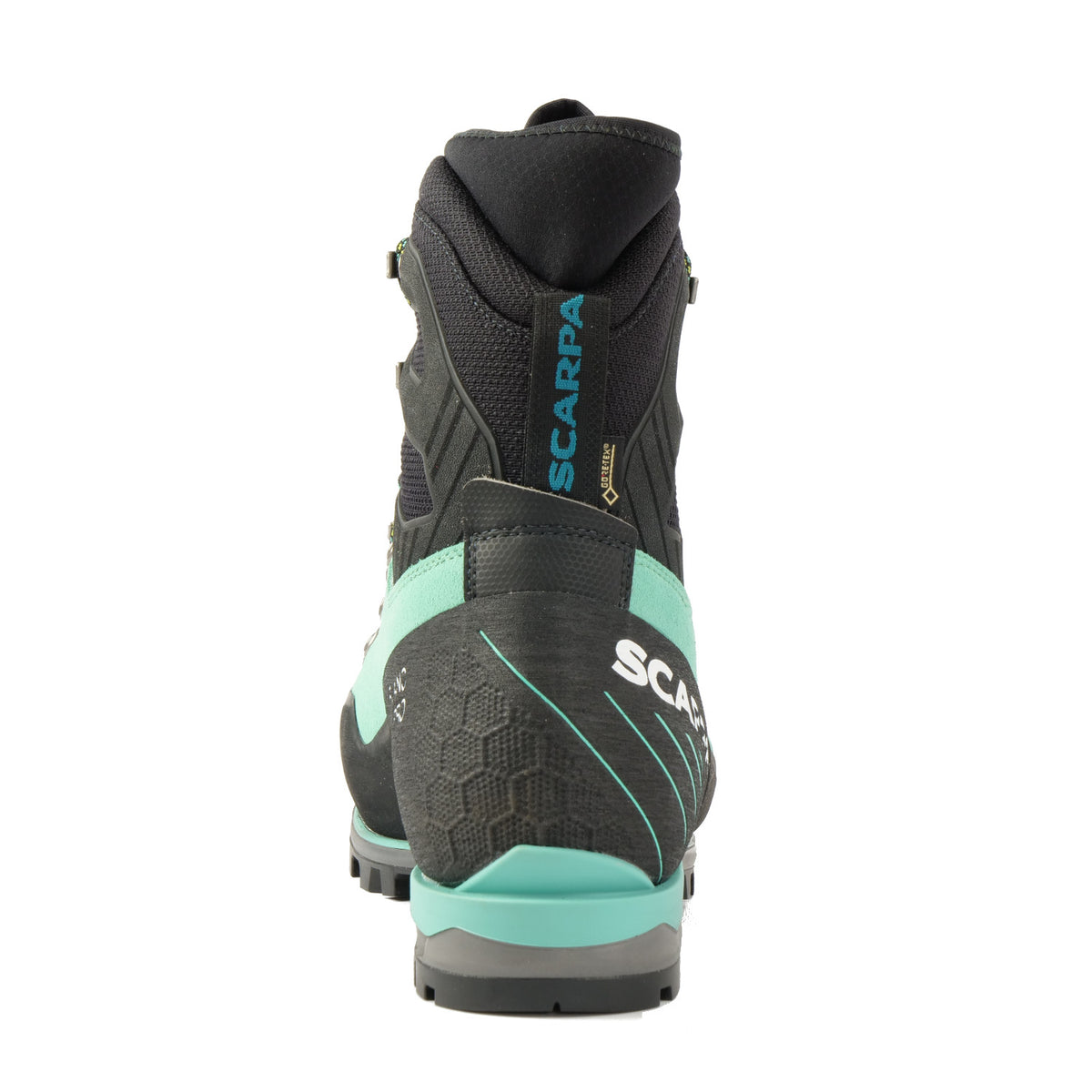 Rear view of the Scarpa Mont Blanc Pro GTX Womens with Mint Green Perwanger outer and black & grey AC sole unit and blue Scarpa logo on the pull tap