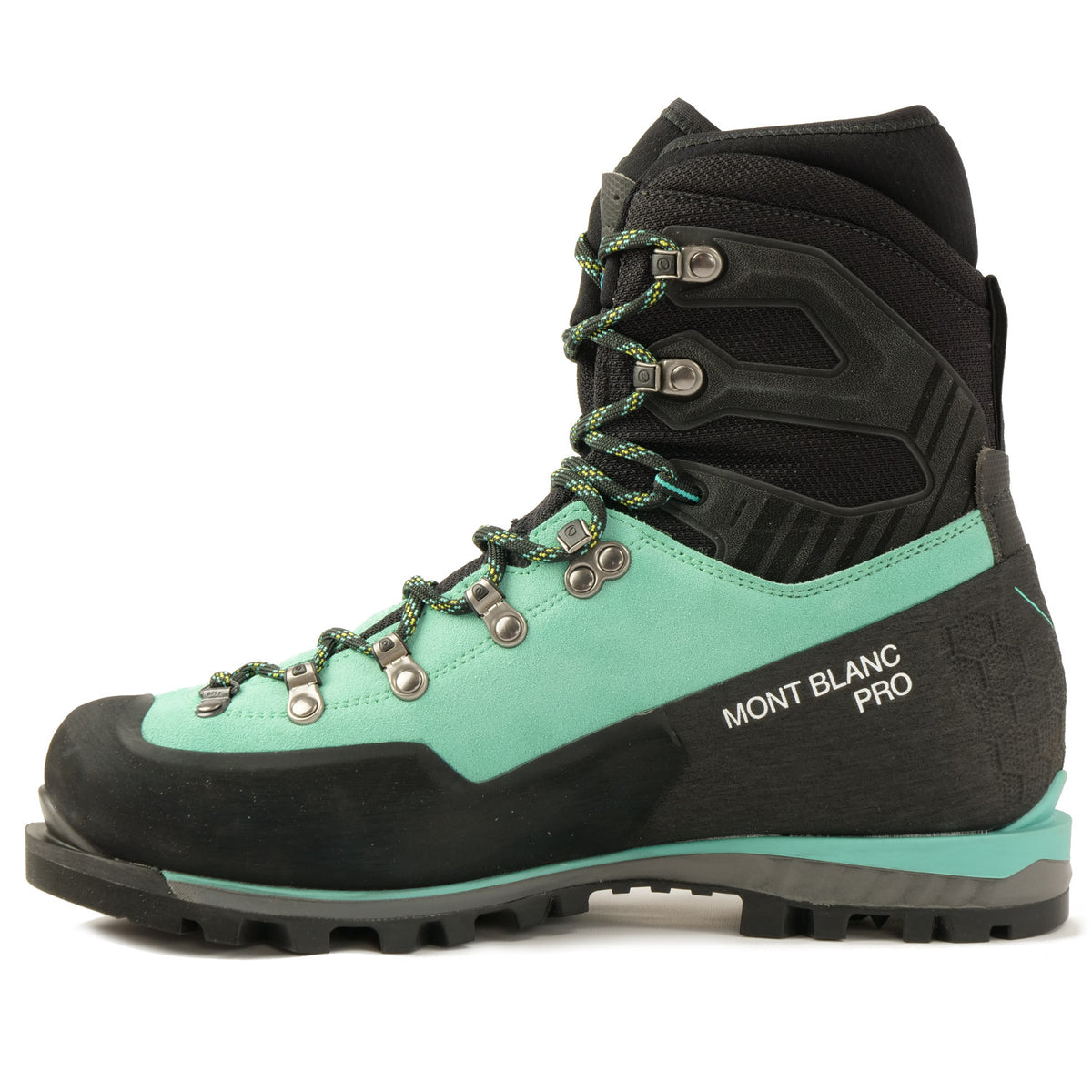 Side view of the Scarpa Mont Blanc Pro GTX Womens with Mint Green Perwanger outer and black rubber and flexible sock and Small Mont blanc pro written in white on the side of the shoe