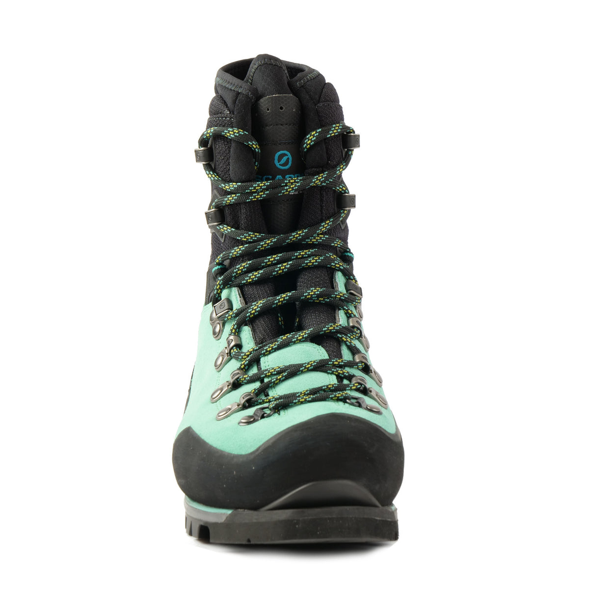 Front view a Scarpa Mont Blanc Pro GTX Womens with Mint Green Perwanger outer and black rubber and flexible sock and tongue