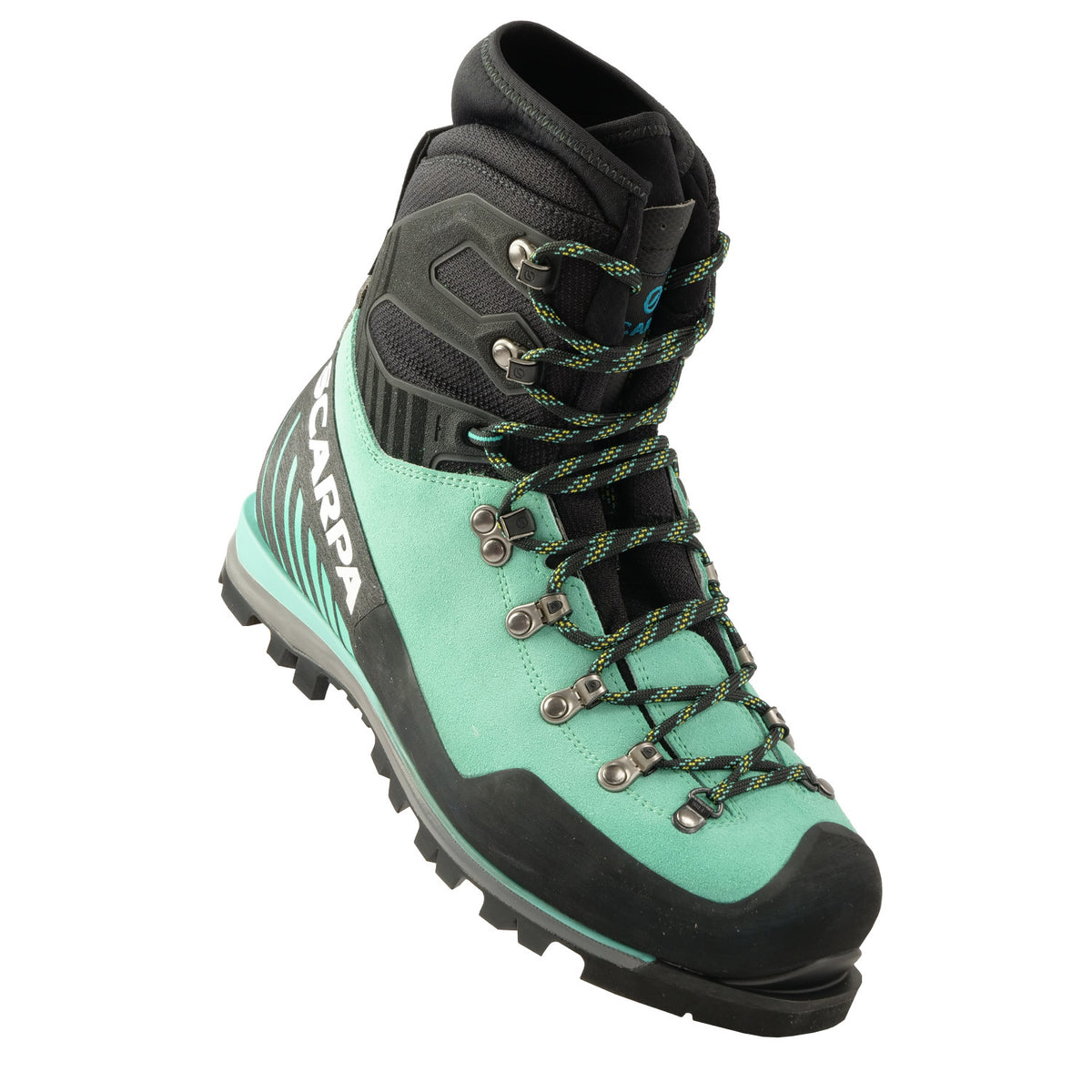 Front view a tilted Scarpa Mont Blanc Pro GTX Womens with Mint Green Perwanger outer and black rubber and flexible sock and tongue