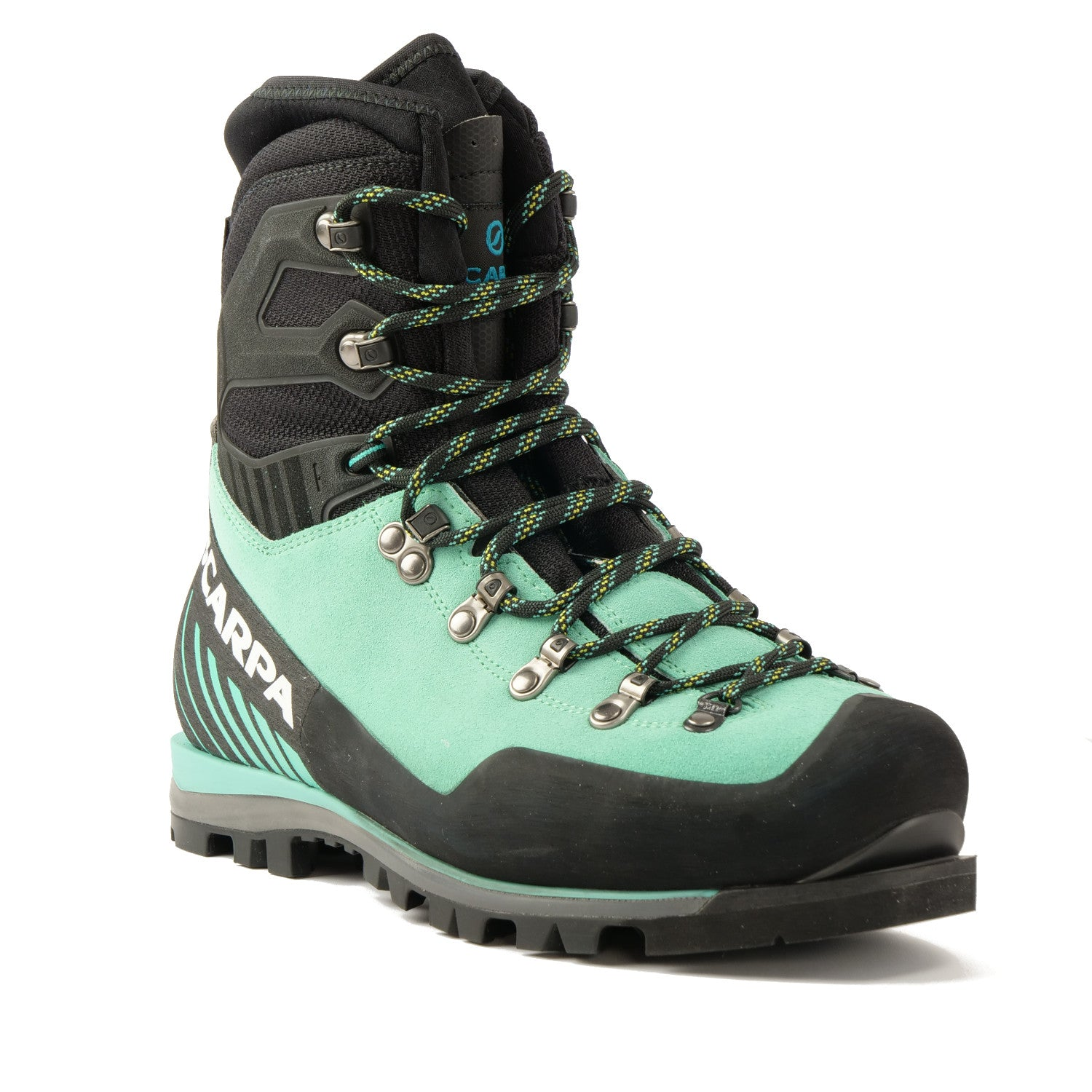 Front view of the Scarpa Mont Blanc Pro GTX Womens with Mint Green Perwanger outer and black rubber and flexible sock and tongue