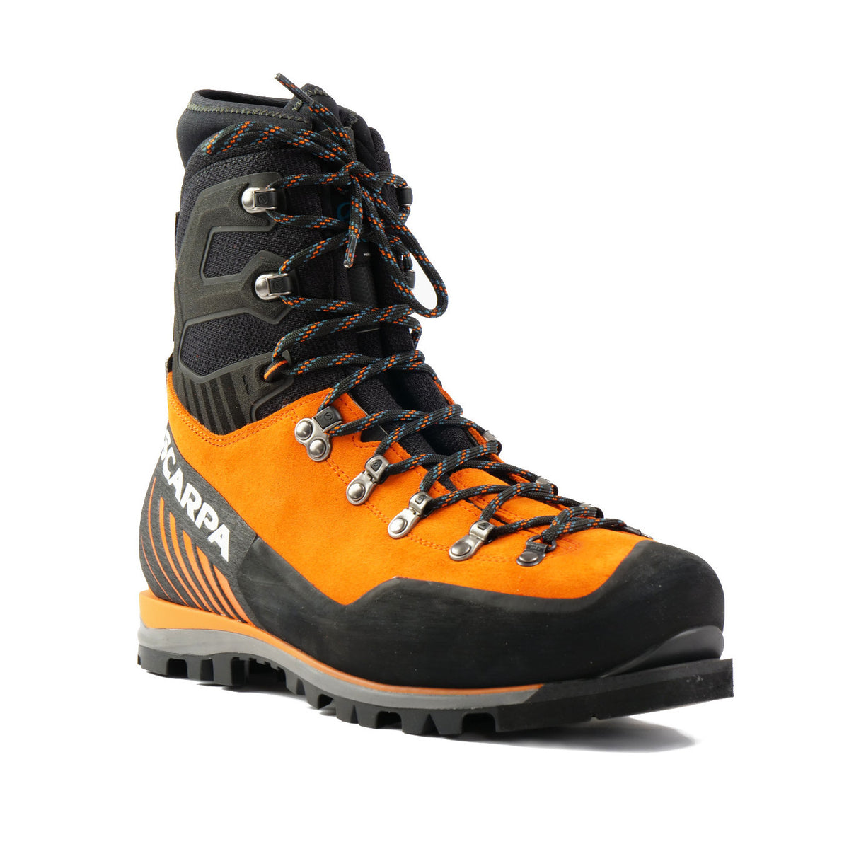 Front view Scarpa Mont Blanc Pro GTX with orange Perwanger outer and black rubber and flexible sock and tongue