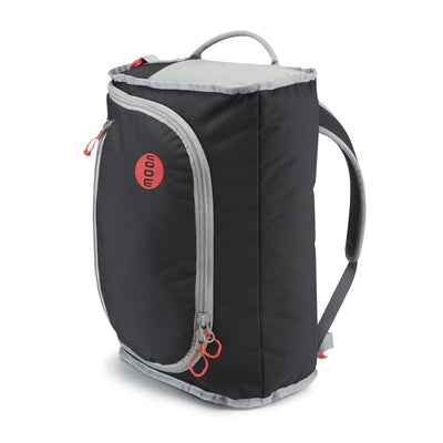 Moon Bouldering Pack, in black colour shown in rucksack mode