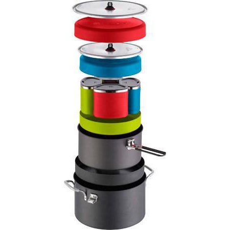 MSR Flex 4 System, camping cookware set all contents shown on top of one another for stacking