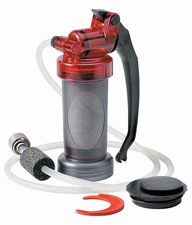 MSR Miniworks EX, portable water filter with all parts shown
