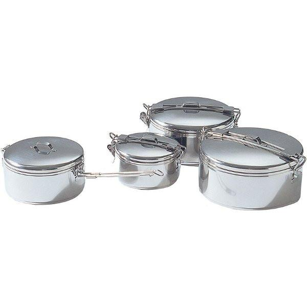 MSR Alpine Stowaway Pots for camping, shown in all sizes in stainless steel