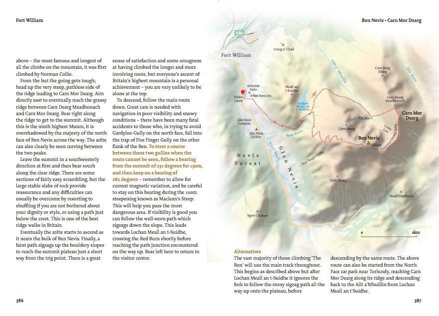The Munros: A Walkhighlands Guide by Pocket Mountains example inside pages showing maps and text