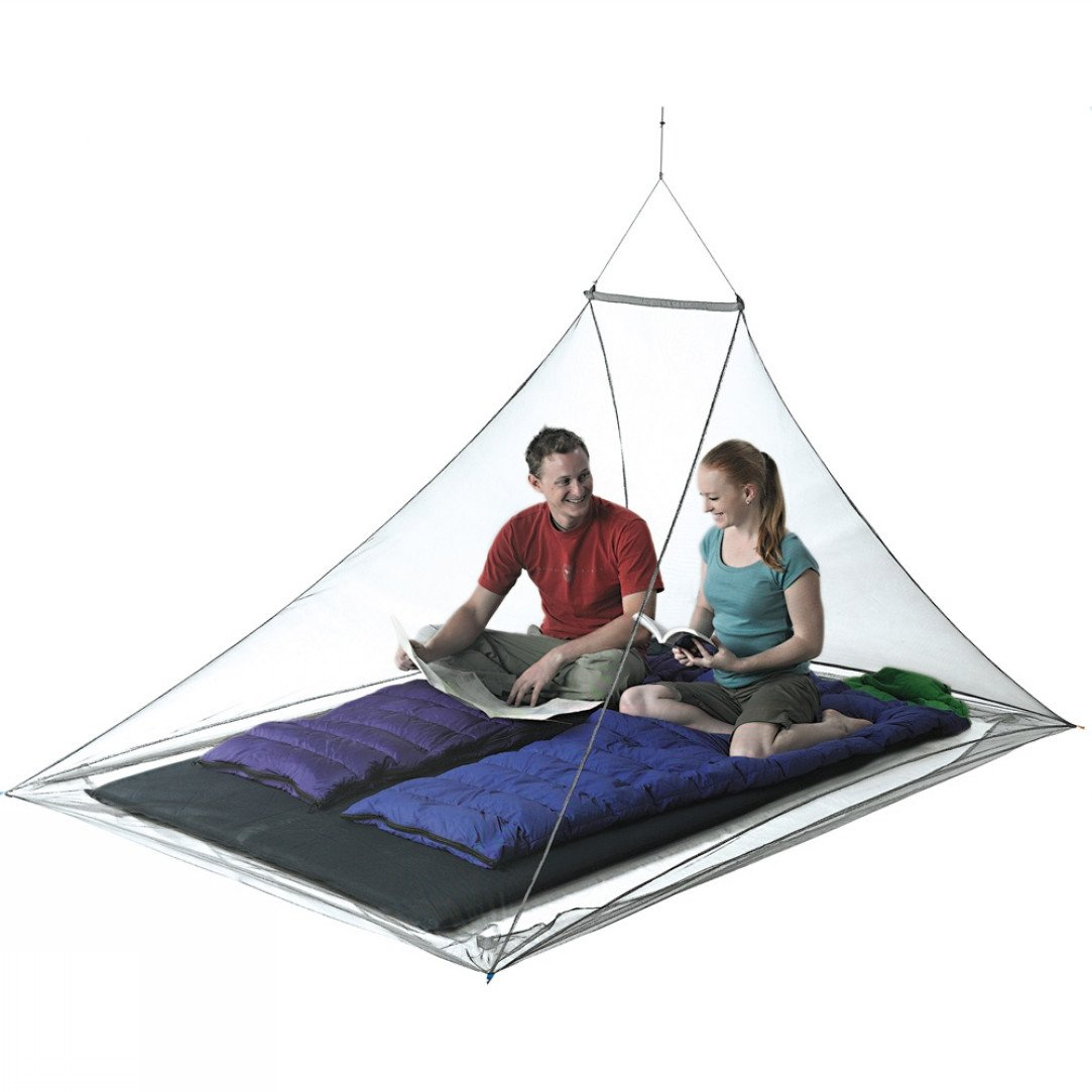 Sea to Summit Nano Mosquito Pyramid Net Double, showing two people inside on a double mattress