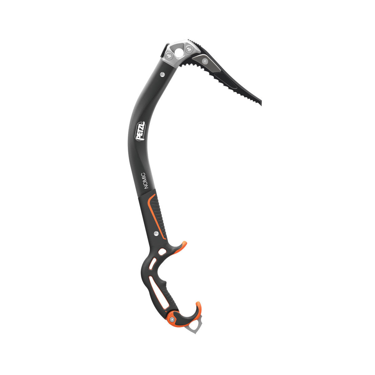 Petzl Nomic Ice Axe, side view shown with black handle, shaft and pick