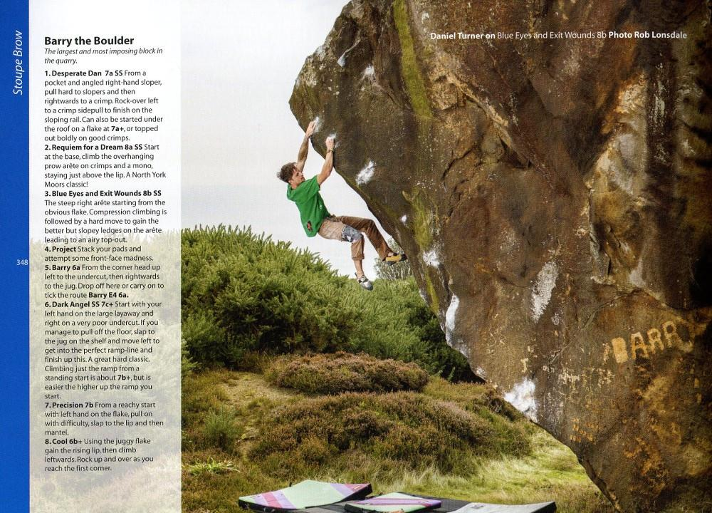 North York Moors & East Coast Bouldering guide, example pages showing photos and topos
