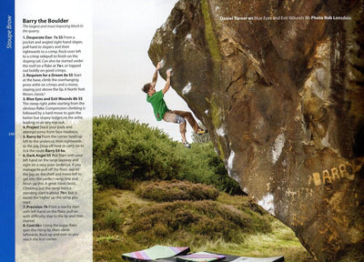 North York Moors & East Coast Bouldering guide, example pages showing route descriptions and photos