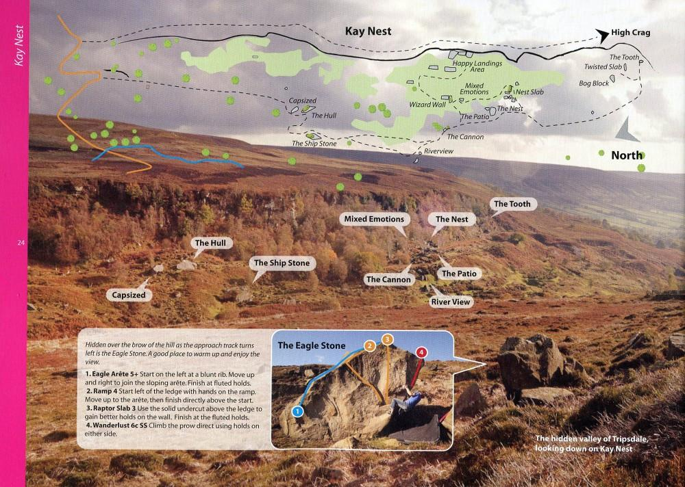 North York Moors & East Coast Bouldering guide showing example pages with photos and maps