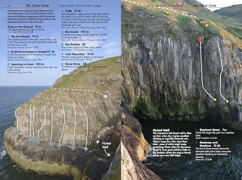 North Wales Limestone climbing guide, inside page examples showing photos and route descriptions