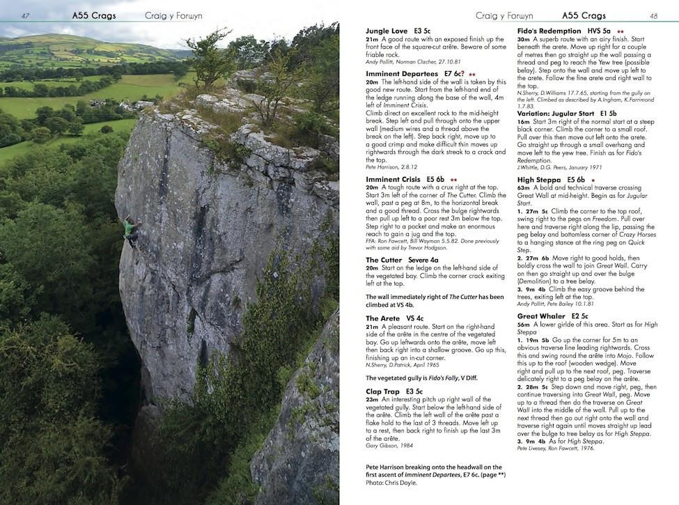 North Wales Limestone guide, inside page examples of route descriptions and topos
