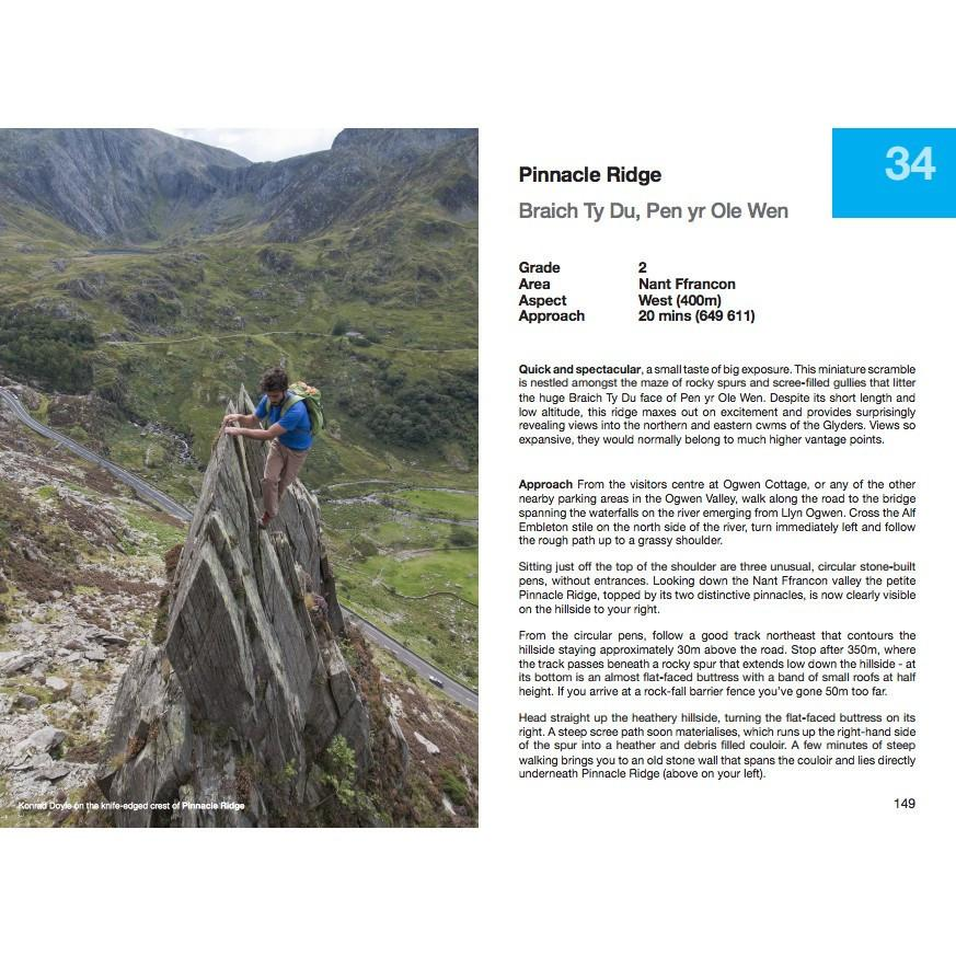 North Wales Scrambles guide, example inside pages showing photos and route desriptions