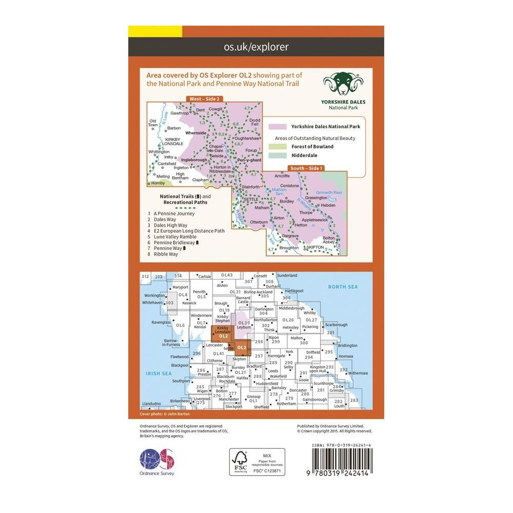 Yorkshire Dales Southern and Western Areas - OS Explorer Map OL2 Active