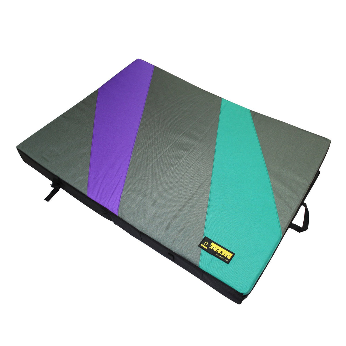 Organic Full Pad, bouldering crash pad shown laid flat in multi-colours