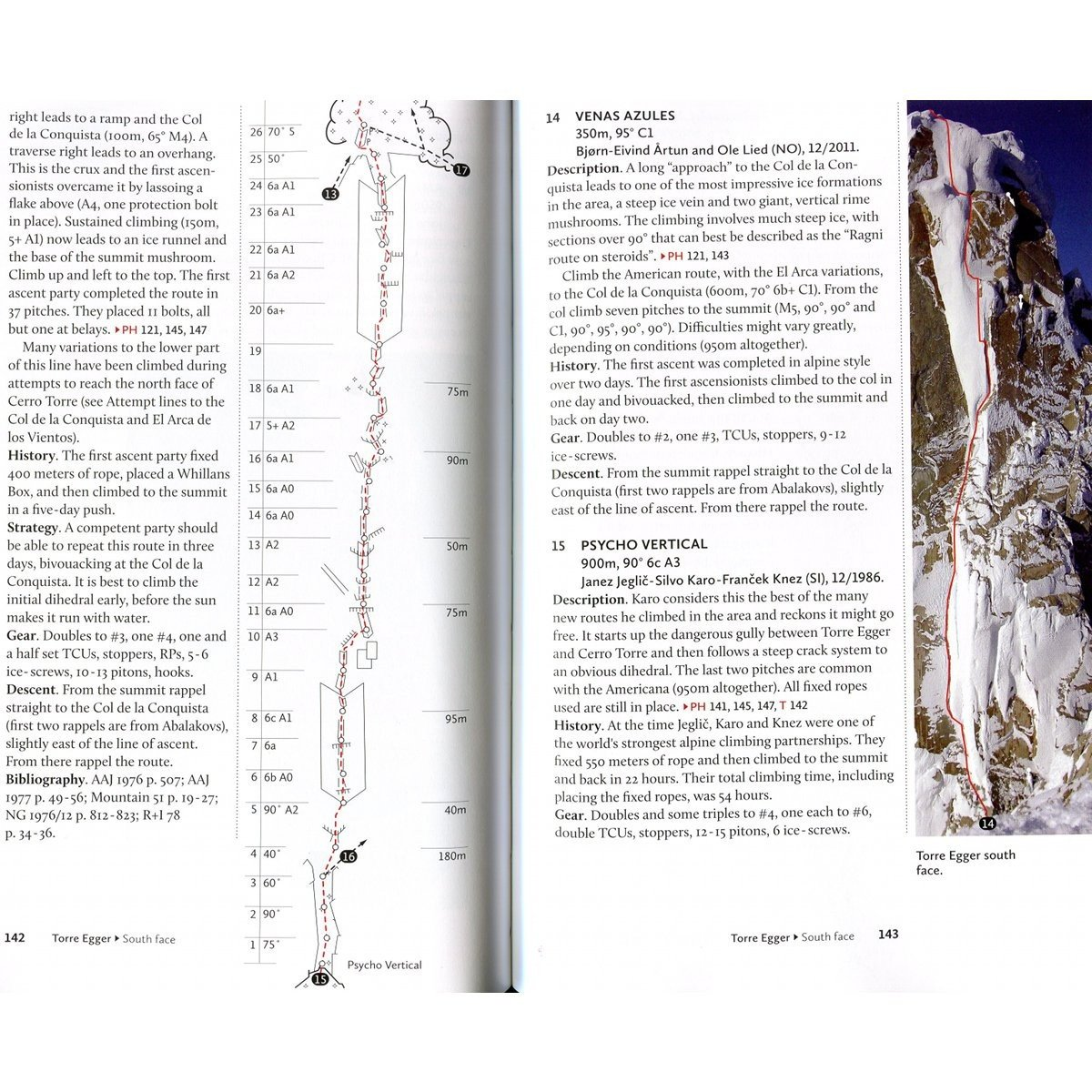 Patagonia Vertical guide, example inside pages showing maps, photos and topos